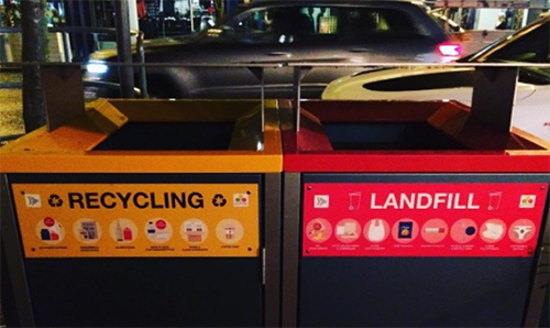 street bins for recycling and landfill
