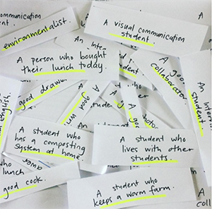 notes from a student exercise about food waste