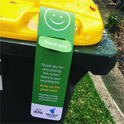 domestic recycling bin with thank you note