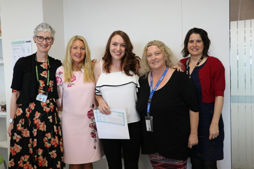 UTS Midwifery Mentor of the Year award winner, Leanne Kelly and UTS Midwifery team.
