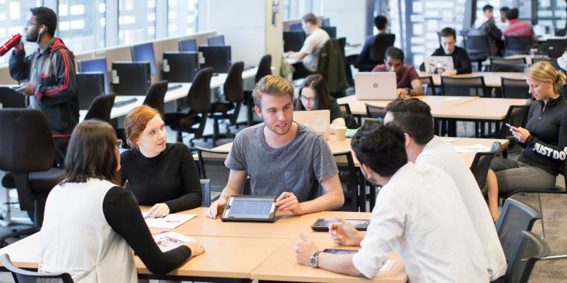 Students study in the FEIT Learning Precinct