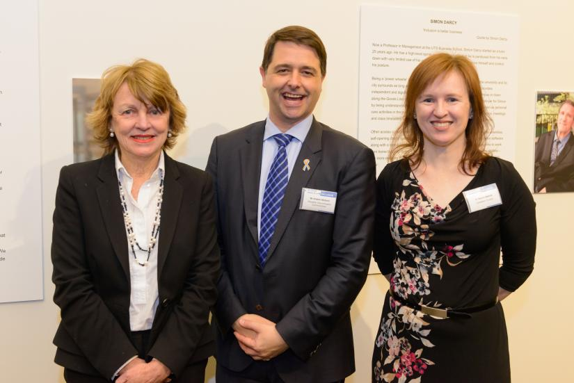 Professor Shirley Alexander, Disability Discrimination Commissioner, Mr Alastair McEwin, and Curator Dr Naomi Malone at the exhibition launch of  Access and Inclusion: Disability at UTS.