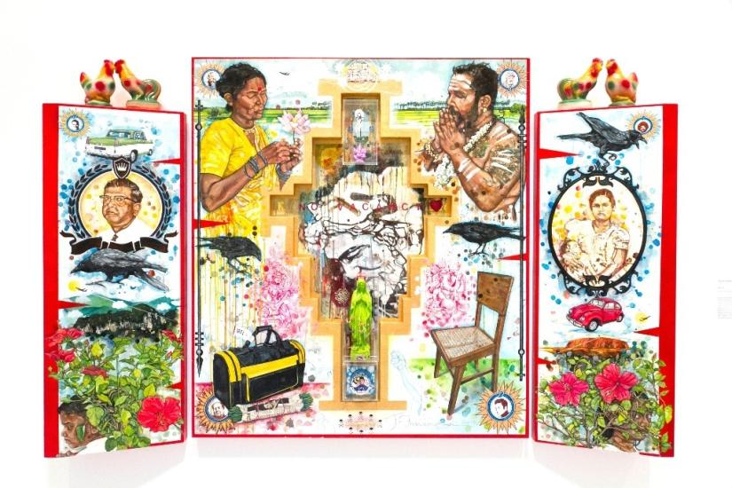 Colourful artwork with 3 panels including people, birds, flowers and objects such as a chair, bag and cars