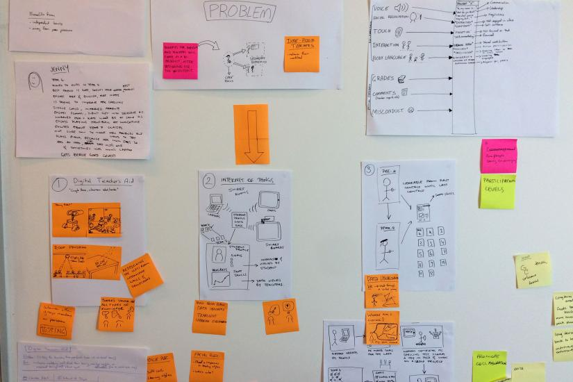 a wall with post-it notes and planning papers