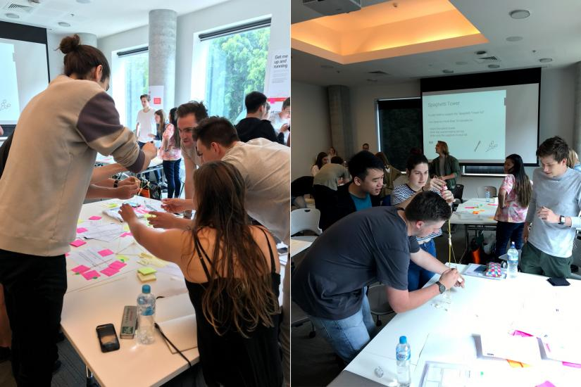 2 photos of students doing group work in the workshop