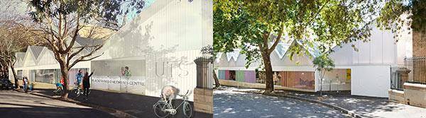 Blackfriars Children's Centre, artist's impression and finished building