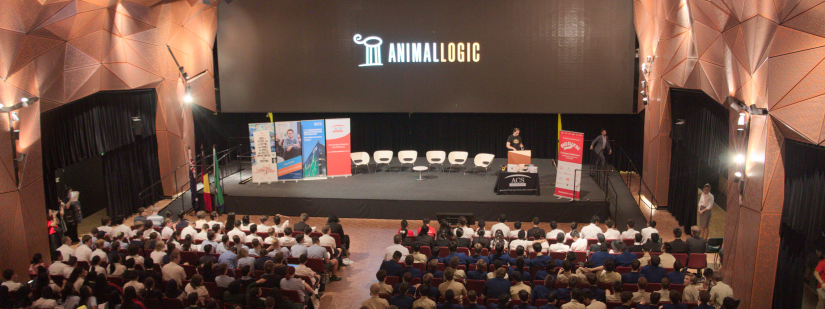 Students watch a presentation from Animal Logic in The Great Hall at UTS