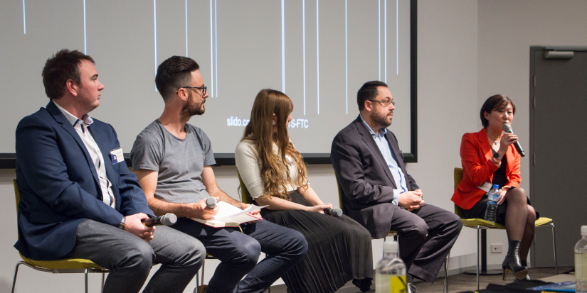 Panelists at the Future Tech Careers event speak about their experience