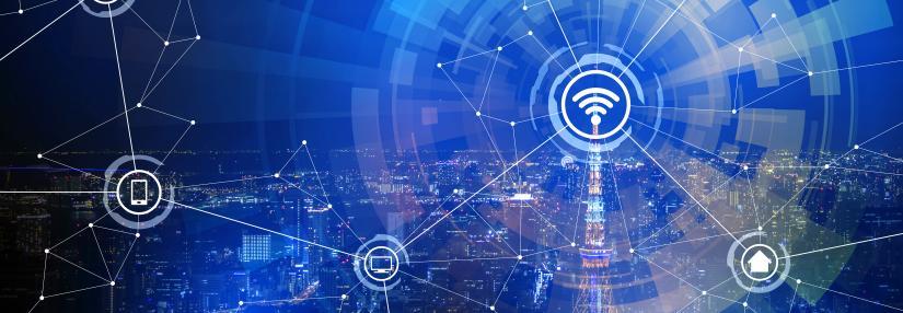 Sensor abstract image over city