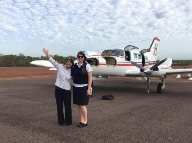 Heidi on the tarmac in Dawrin during her Orthoptics placement