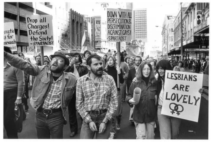 Gay Rights march, George Street, Sydney, 15 July 1978, photograph by Geoff Friend, courtesy Geoff Friend and Australian Lesbian and Gay Archives