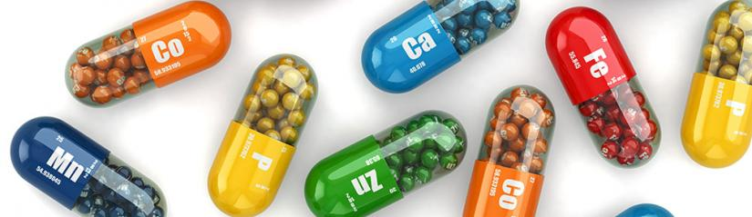 Colourful pills with periodic table elements