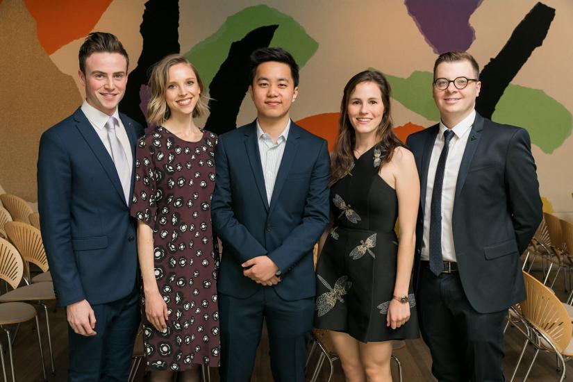 MADE scholarship recipients 2018. L to R: Matthew Burnett, Rose Montgomery, Damian Zhu, Jaime Painter and Jeffrey Tighe
