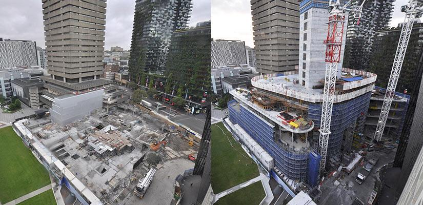 Building 2 timelapse photos, 2017 and 2018
