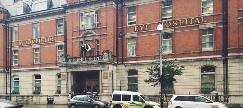 Front of building Moorefields Eye Hospital London