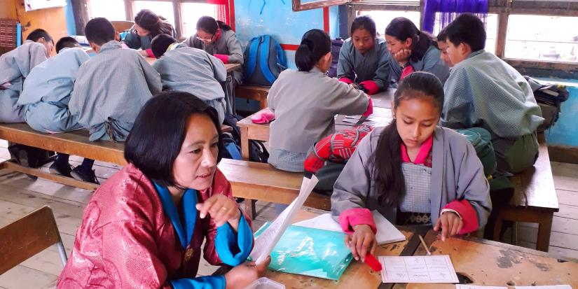 Working with students in Bhutan