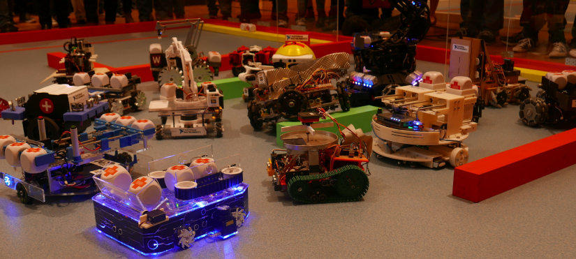 Robots from the 2017 NI Robotics competition
