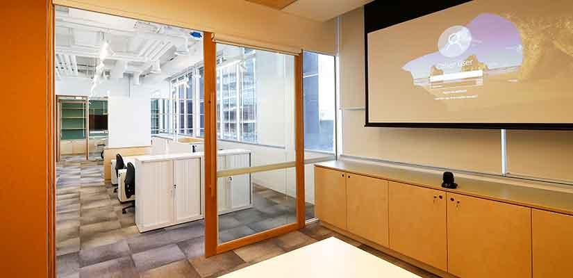 Meeting room with videoconferencing facilities