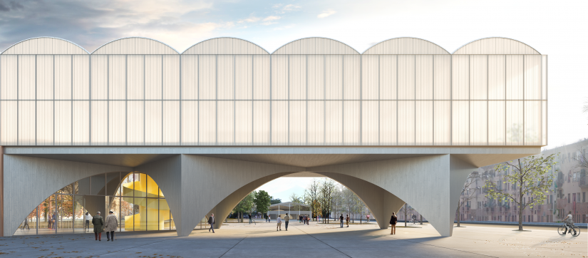 Architectural render of New Lorenteggio Library design by Jocelyn Froimovich, Urtzi Grau, Stefano Rolla, Laura Signorelli