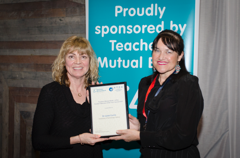 Dr Janet Currie receiving the award