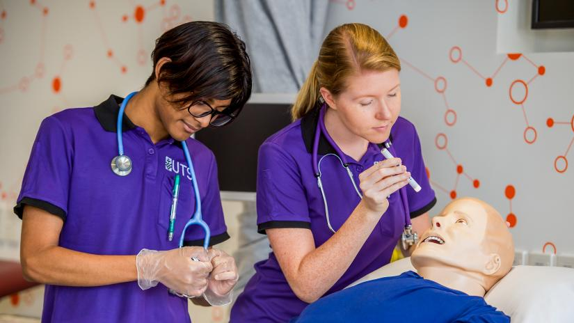 Two UTS Health students at work
