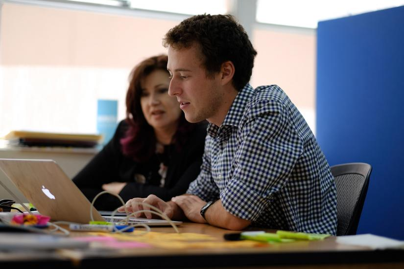 Photo: JobGetter's Fiona Anson and UTS student Lachlan Gregory