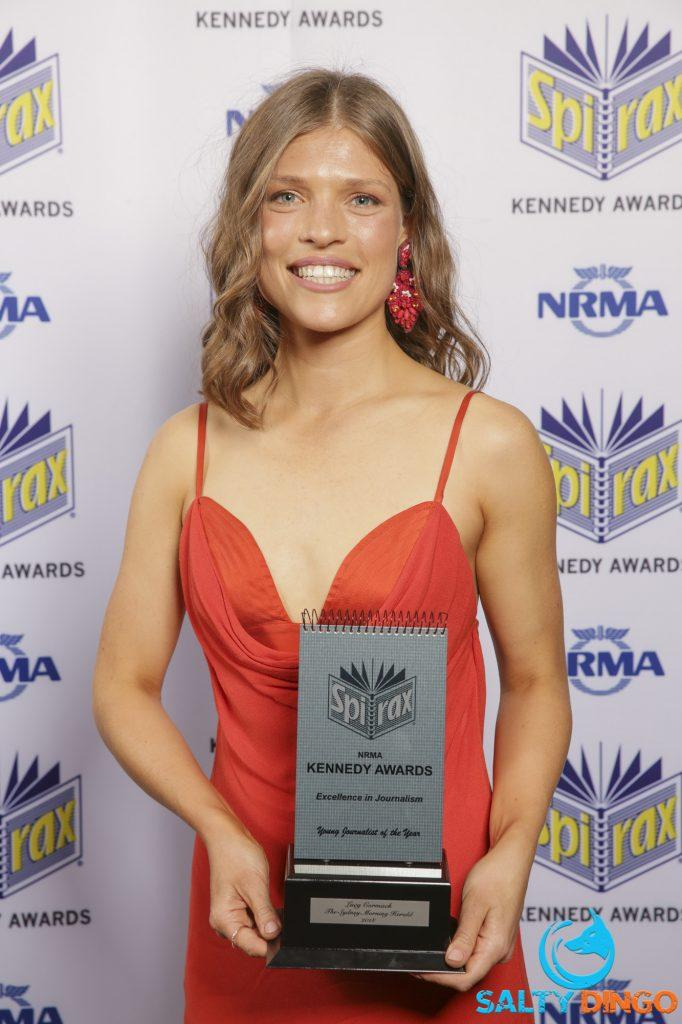 Lucy Cormack pictured with a Kennedy Award