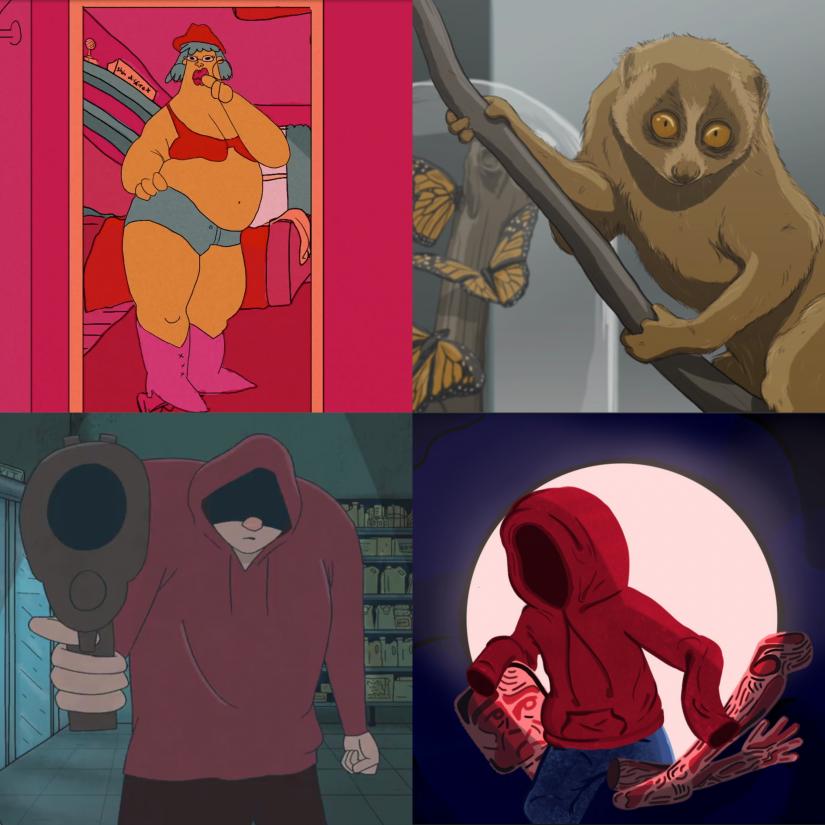 Four animation stills from Microflix Festival short films