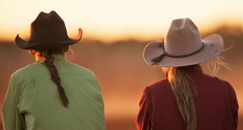 girls watch sunset