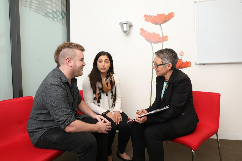 Couple with counsellor, GSH Genetic Counselling - graduate work ready
