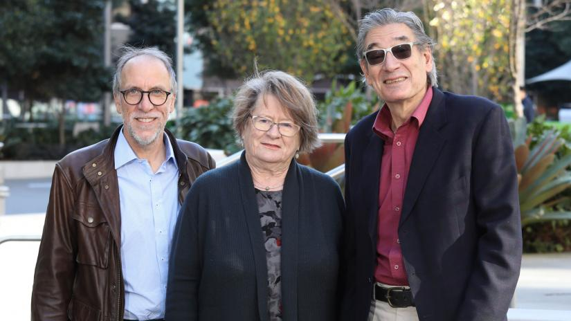 Australian Stutter Research Centre's chief investigators: Professor Ross Menzies, Professor Ann Packman and Professor Mark Onslow (left to right). Credit: Grant Turner