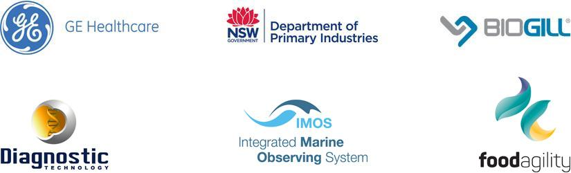 C3 partner logos - GE Health Care, NSW Department of Primary Industries, Biogill, Diagnostic Technology, IMOS - Intergrated Marine Observing System, Food Agility