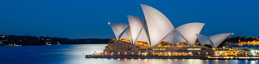 Sydney Opera house in lights
