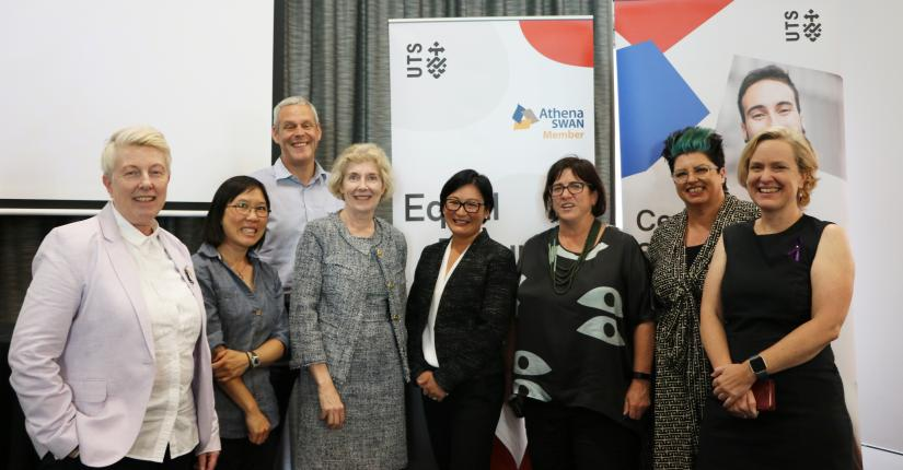 "Panel members and senior members of UTS staff posing at the UTS 2018 ""Breaking the glass cultural ceiling"" International Women's Day event."