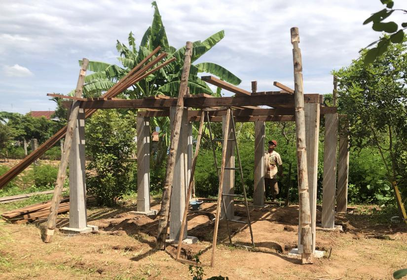 A Construction for Developing Communities house mid-build in Cambodia