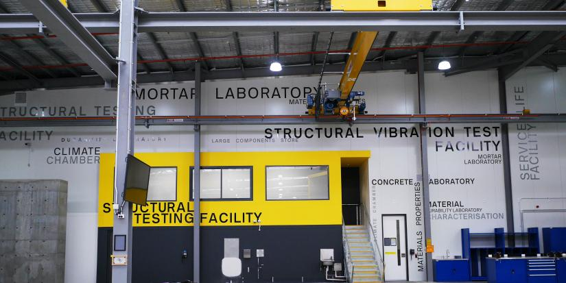 Interior of Tech Lab looking across at the structural testing lab
