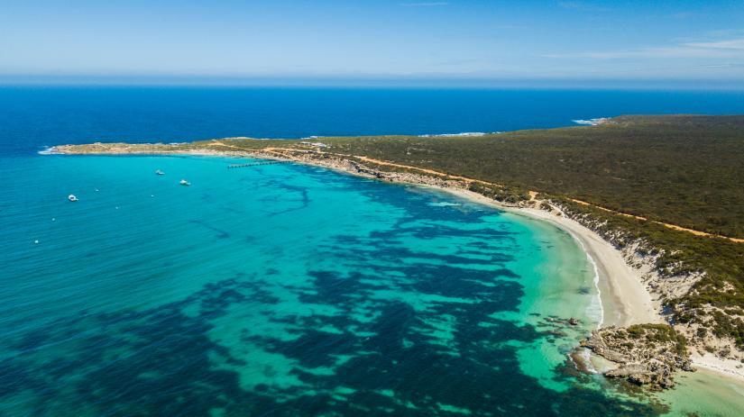 Aerial photo of a tropic beach