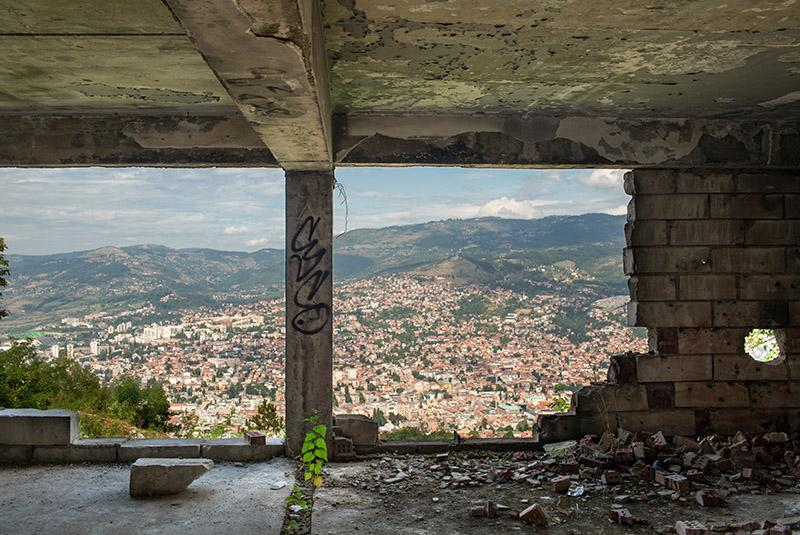 View across Sarajevo from a war damaged building on the outskirts of the city