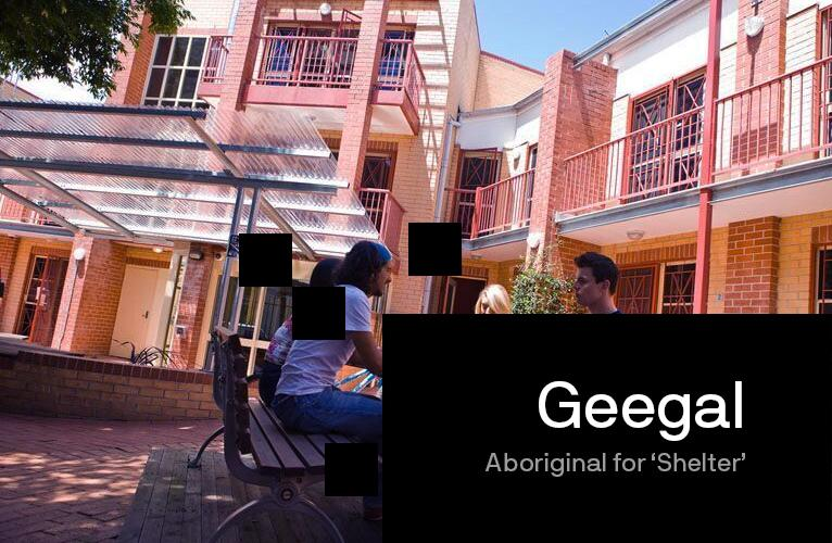 Banner image of students sitting outside the Geegal building