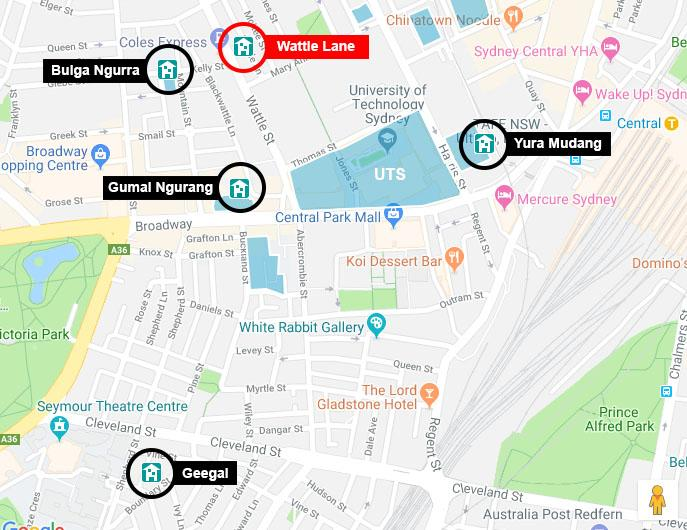 Map showing proximity of UTS accommodation to the UTS Tower