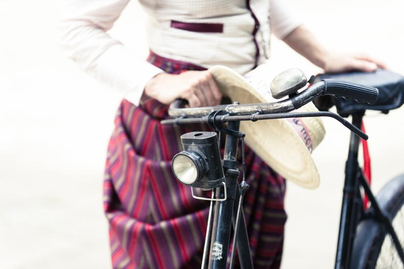 Kat Jungnickel Nov Masterclass ACPH Image of Bike and 19th Century Dress