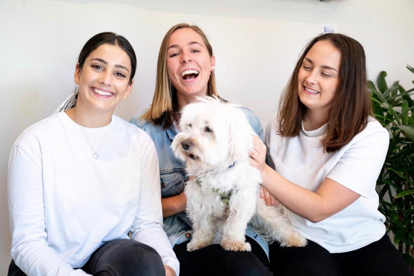 The co-founders of Stitch Hub - Eliza, Lucy and Polina