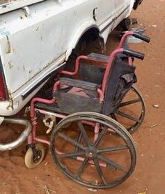A wheelchair in Alice Springs sits on red dirt and struggles to survive the conditions. Scott Avery, UTS