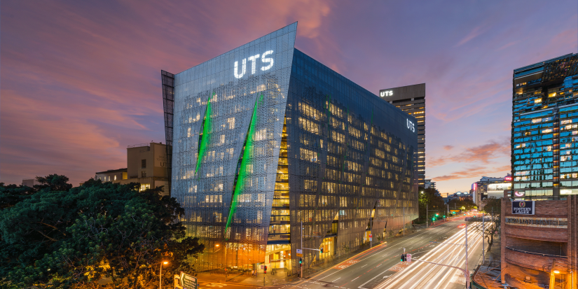 UTS Engineering and IT building at dusk