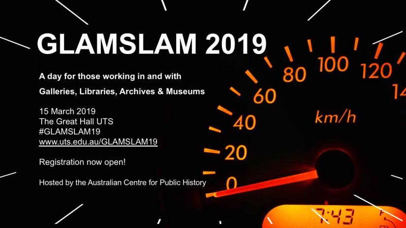 Event poster for GLAMSLAM 2019 being held on 15 March 2019