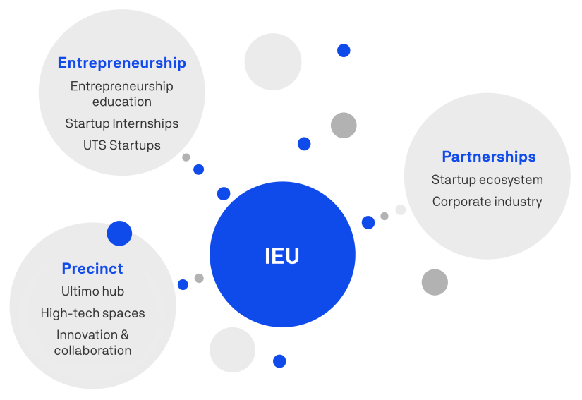 Infographic showing the connection between entrepreneurship, partnerships and precint with IEU
