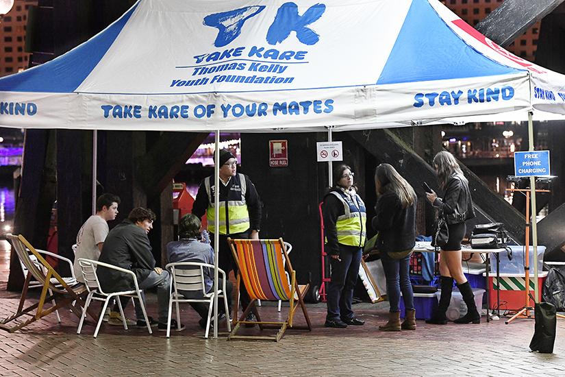 The Take Kare marquee offers assistance to young people in Sydney on Friday and Saturday nights. Photo provided by Thomas Kelly Youth Foundation.