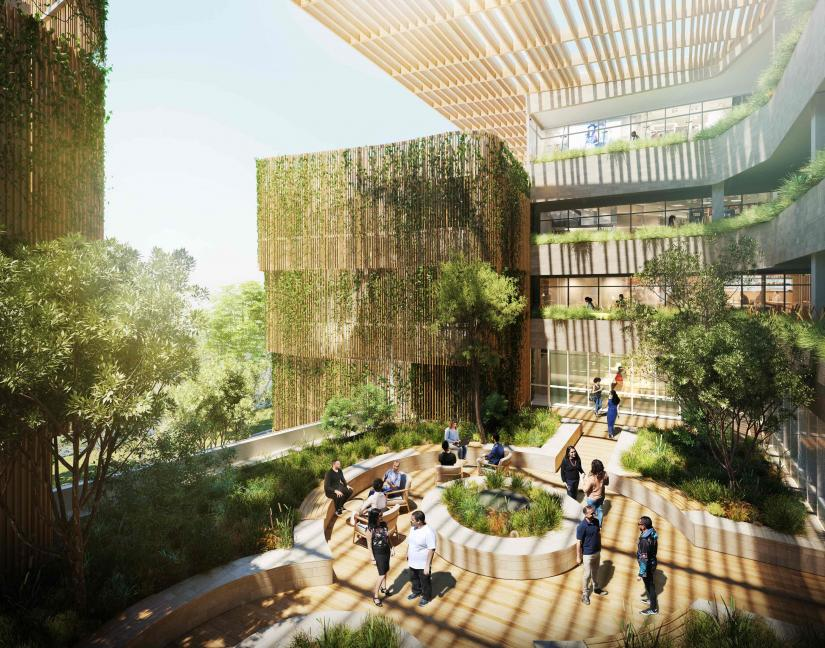 Photograph of artists impression of the Indigenous College with atrium and greenery