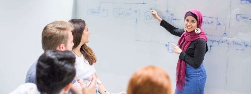Students looking toward a whiteboard wall doing user experience design