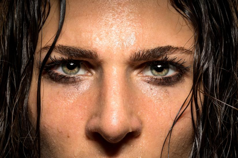 Woman with sweaty face